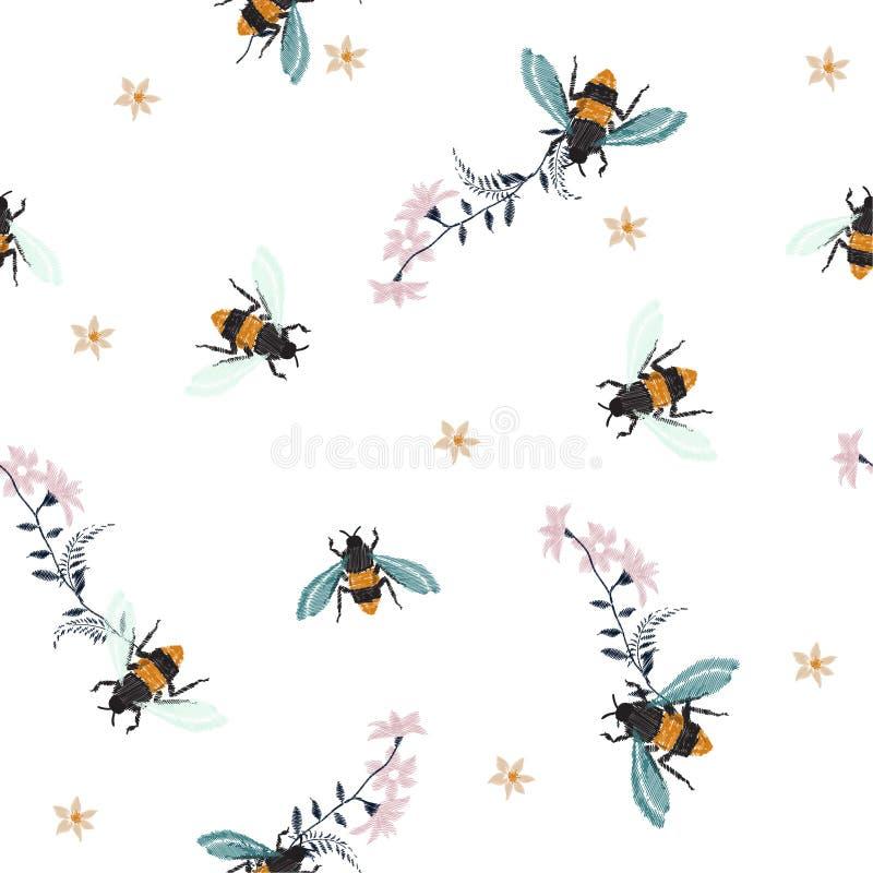Μέλισσα μελιού κεντητικής, με το μπάλωμα μόδας λουλουδιών με τα έντομα άρρωστα διανυσματική απεικόνιση