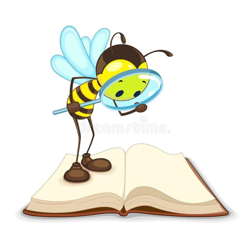 Μέλισσα που ψάχνει με την ενίσχυση - γυαλί απεικόνιση αποθεμάτων