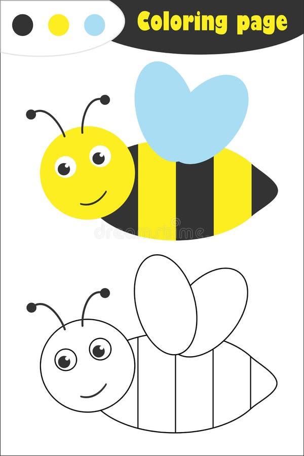 Μέλισσα στο ύφος κινούμενων σχεδίων, χρωματίζοντας σελίδα, παιχνίδι εγγράφου εκπαίδευσης άνοιξη για την ανάπτυξη των παιδιών, προ διανυσματική απεικόνιση