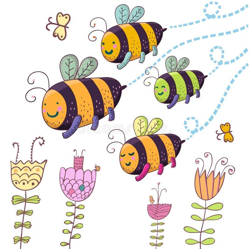 μέλισσες ευτυχείς διανυσματική απεικόνιση