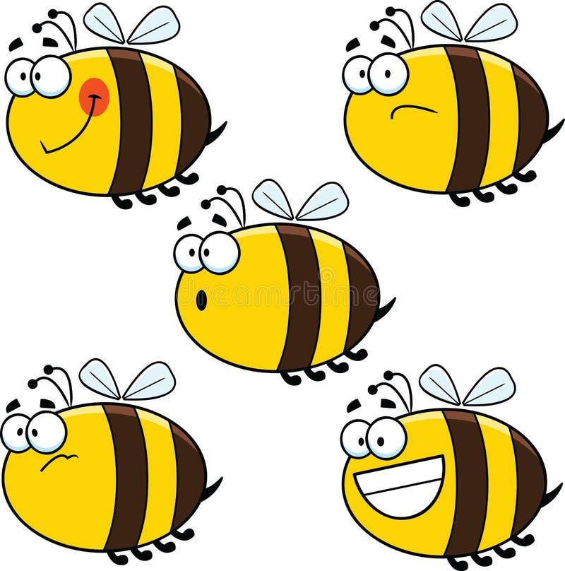 Μέλισσες κινούμενων σχεδίων ανάμεικτες διανυσματική απεικόνιση
