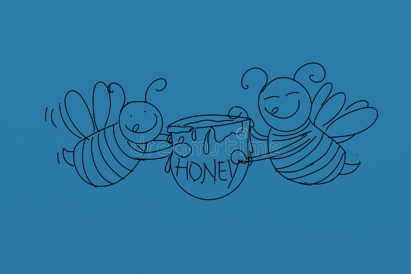 Μέλισσες με το μέλι, τρόφιμα, διανυσματική απεικόνιση