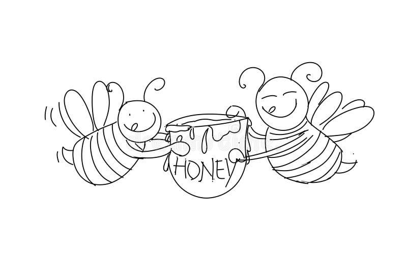 Μέλισσες με το μέλι, τρόφιμα, απεικόνιση αποθεμάτων