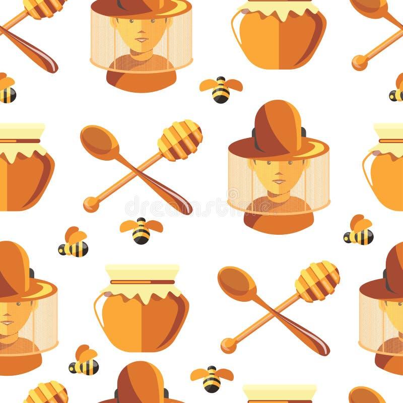 Μέλι και μέλισσες, μελισσοκόμος που φορούν το προστατευτικό άνευ ραφής σχέδιο κοστουμιών απεικόνιση αποθεμάτων