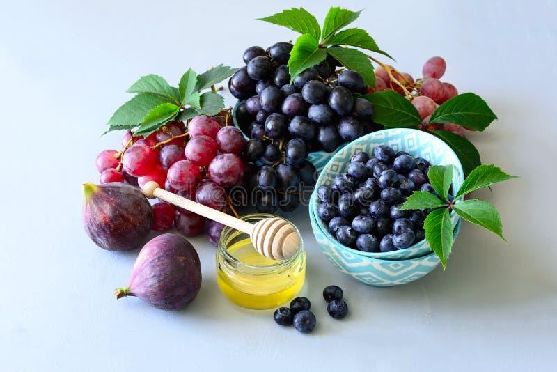 Μέλι και φρέσκα οργανικά εποχιακά φρούτα: σταφύλια, σύκα και βακκίνιο Συγκομιδή φθινοπώρου στο γκρίζο ξύλινο υπόβαθρο r στοκ εικόνα με δικαίωμα ελεύθερης χρήσης