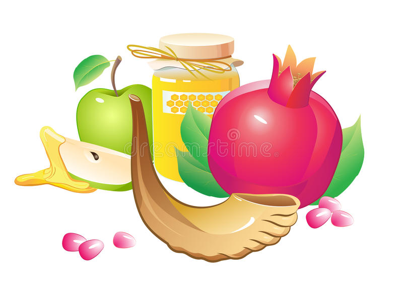 Μέλι, μήλο, ρόδι και κέρατο απεικόνιση αποθεμάτων