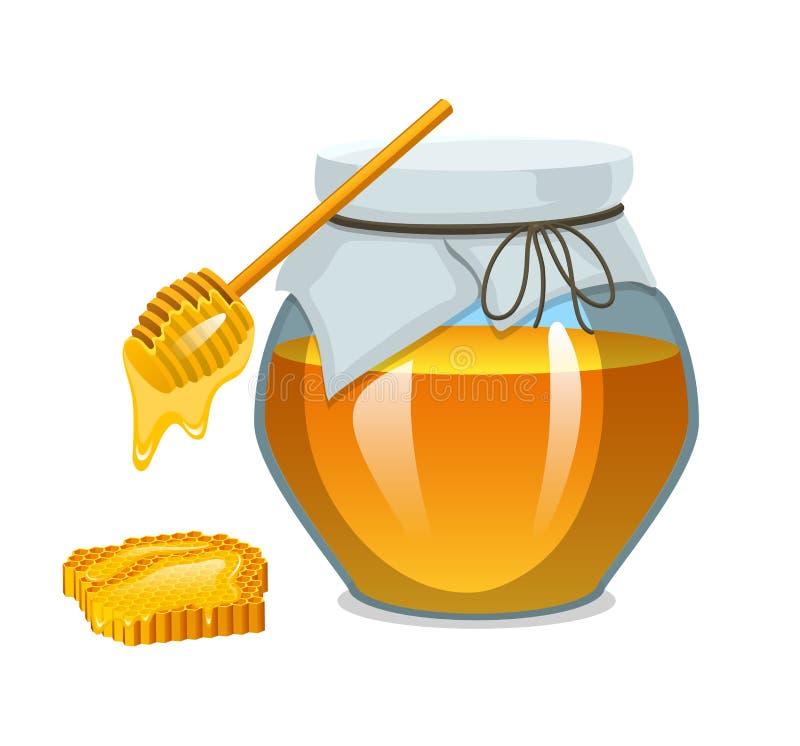 Μέλι στο βάζο ή το φυσικό αγροτικό προϊόν τρόφιμα στην κηρήθρα που μαγειρεύεται από τις μέλισσες Μελισσοκομία και υγεία, οργανικά διανυσματική απεικόνιση
