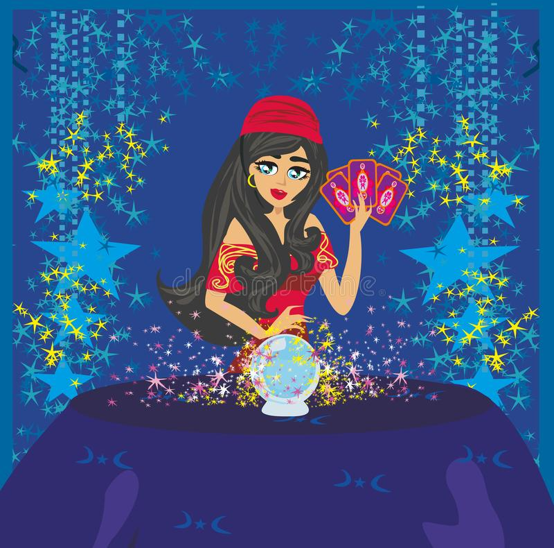 Μέλλον ανάγνωσης γυναικών αφηγητών τύχης στη μαγική σφαίρα κρυστάλλου ελεύθερη απεικόνιση δικαιώματος