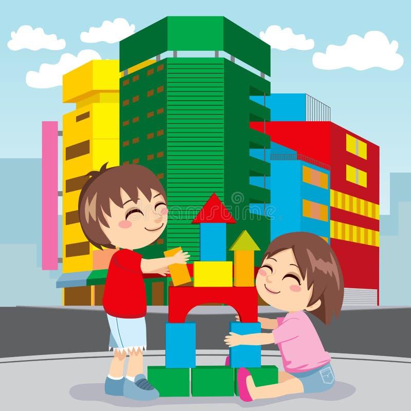 μέλλον πόλεων οικοδόμηση& διανυσματική απεικόνιση
