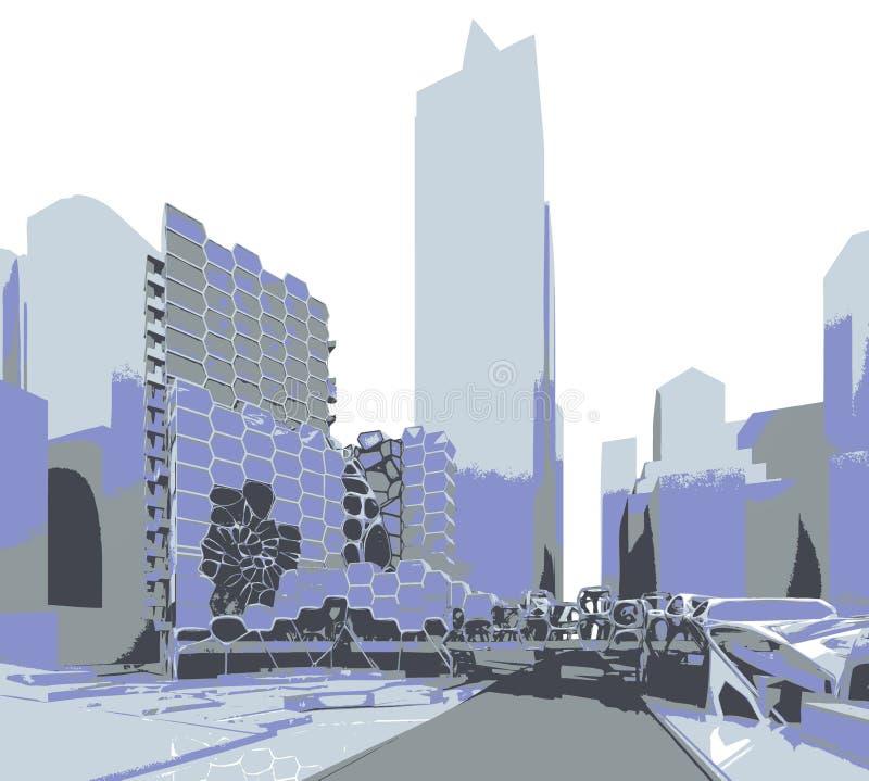 μέλλον πόλεων ελεύθερη απεικόνιση δικαιώματος