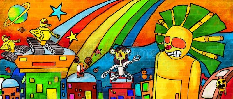 Μέλλον τεράτων πόλεων ο ζωηρόχρωμος τοίχος χρωμάτων ελεύθερη απεικόνιση δικαιώματος