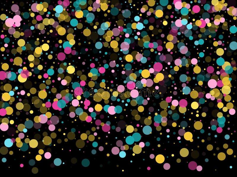 Μέμφιδα γύρω από το εορταστικό υπόβαθρο κομφετί κυανός μπλε, ρόδινος και κίτρινος Παιδαριώδες διάνυσμα σχεδίων απεικόνιση αποθεμάτων