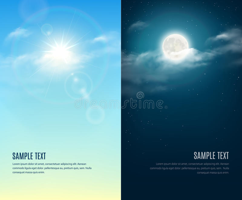 Μέρα και νύχτα απεικόνιση 1 ανασκόπηση καλύπτει το νεφελώδη ουρανό στοκ εικόνες