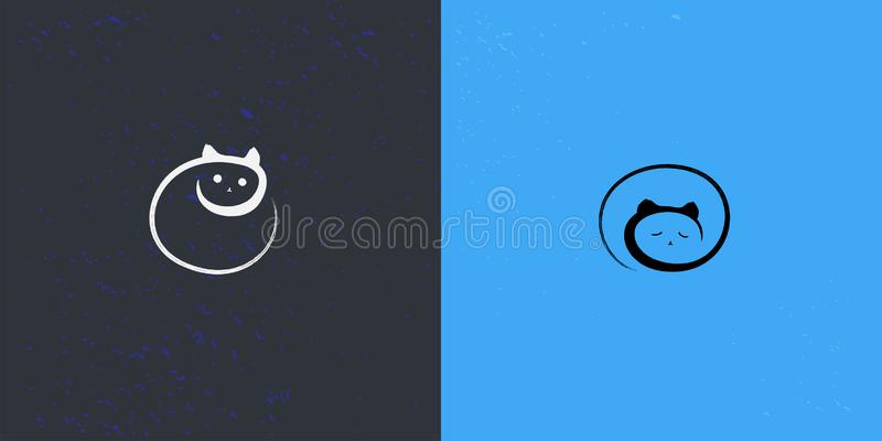 Μέρα και νύχτα σύμβολο γατών με το ύφος brushwork απεικόνιση αποθεμάτων