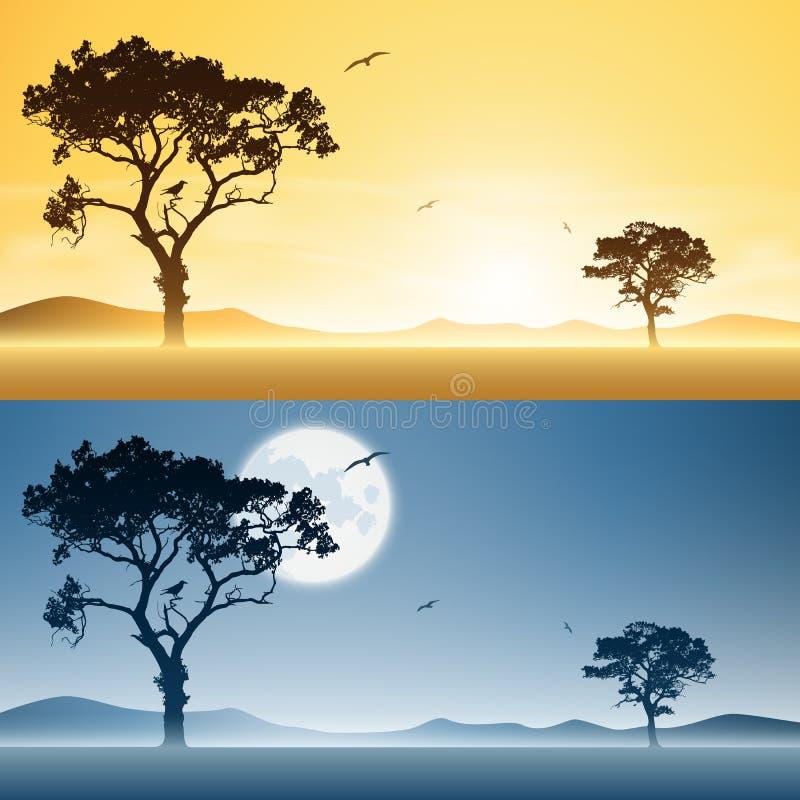 Μέρα και νύχτα τοπία απεικόνιση αποθεμάτων