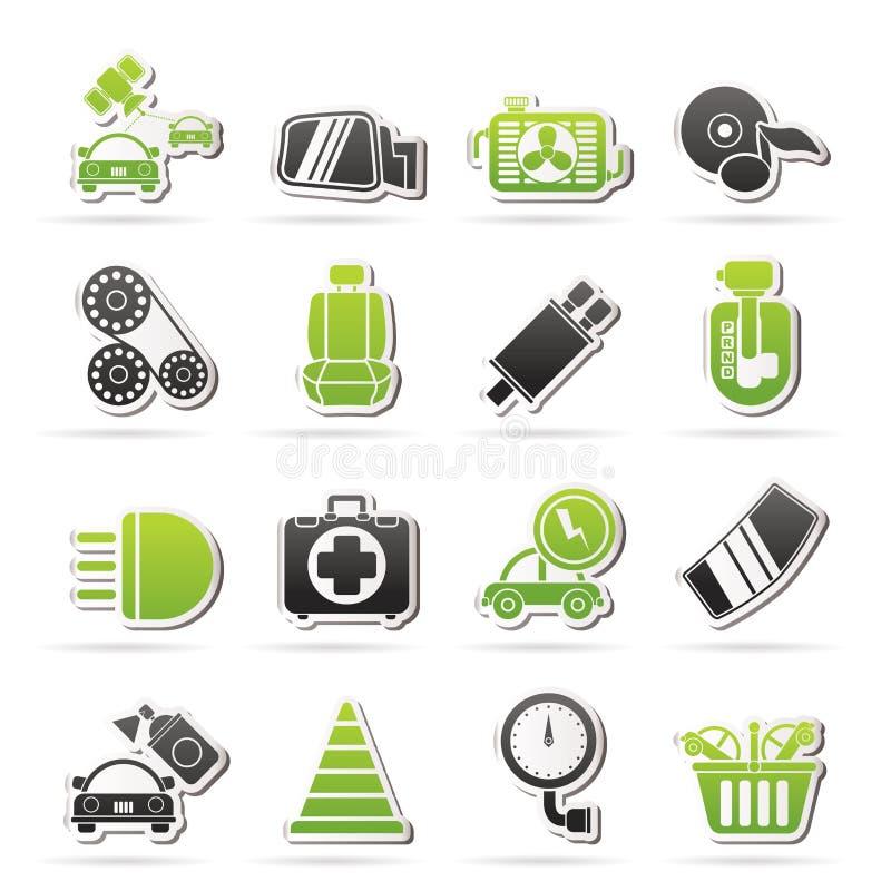 Μέρη αυτοκινήτων και εικονίδια υπηρεσιών απεικόνιση αποθεμάτων