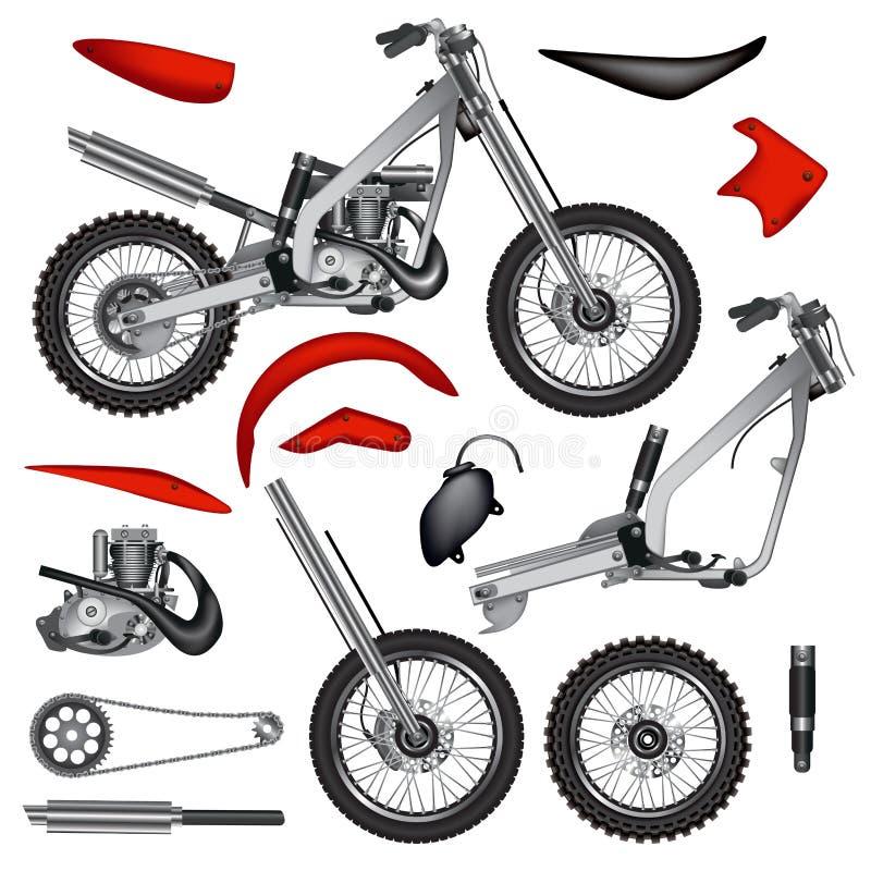 Μέρη μοτοσικλετών διανυσματική απεικόνιση