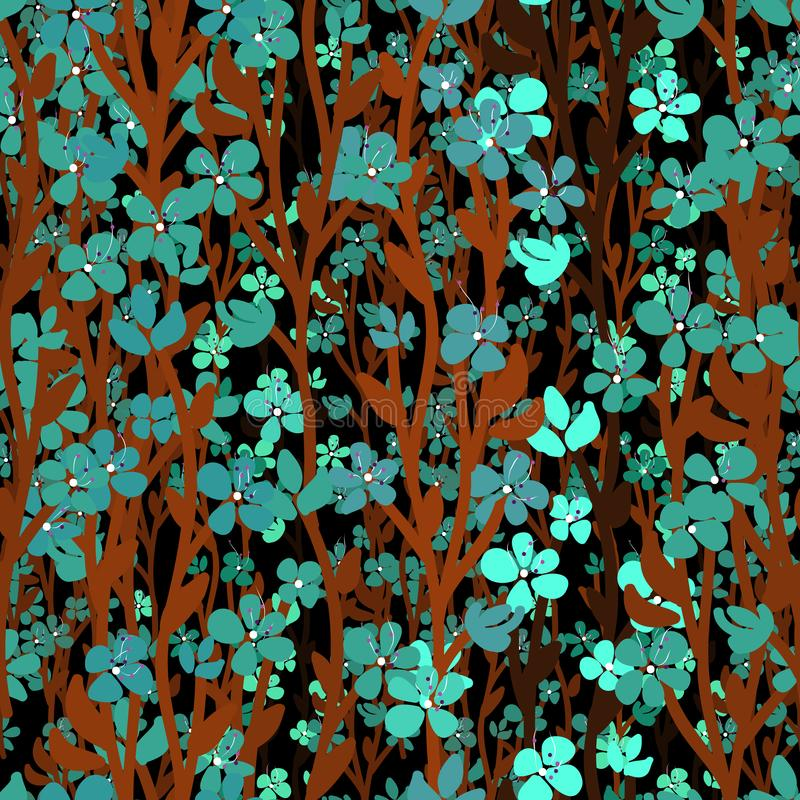 Μέρη του μικρού μπλε τυρκουάζ ξεχνώ-εμένα-λουλουδιού, καφετιοί μίσχοι στο μαύρο υπόβαθρο διανυσματική απεικόνιση