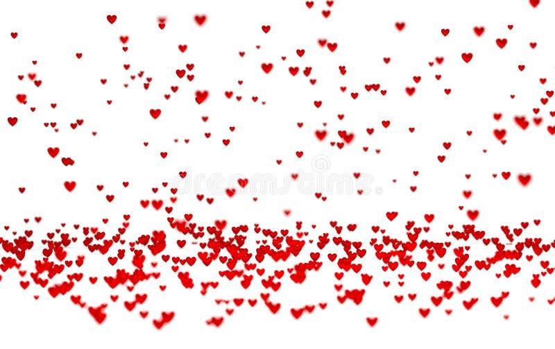 Μέρη των μικροσκοπικών κόκκινων καρδιών με μια επίδραση Defocus απεικόνιση αποθεμάτων