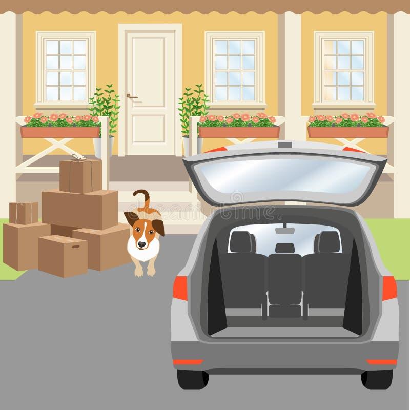 Μέρος εξοχικών σπιτιών με την πόρτα και τα παράθυρα επιτροπής Driveway, κουτιά από χαρτόνι και αυτοκίνητο με τον ανοιγμένο κορμό ελεύθερη απεικόνιση δικαιώματος