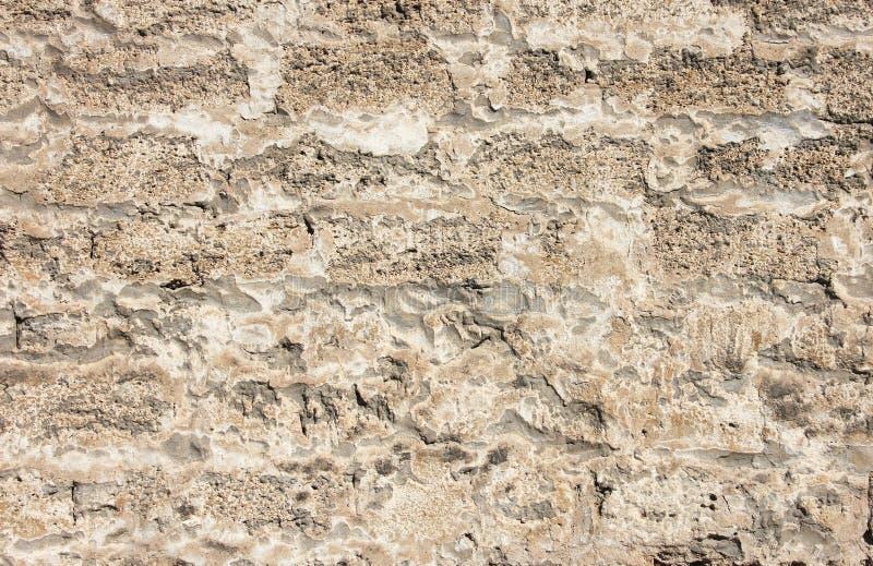 Μέρος του παλαιού γκρίζου τουβλότοιχος με το ασβεστοκονίαμα, σύσταση στοκ εικόνα