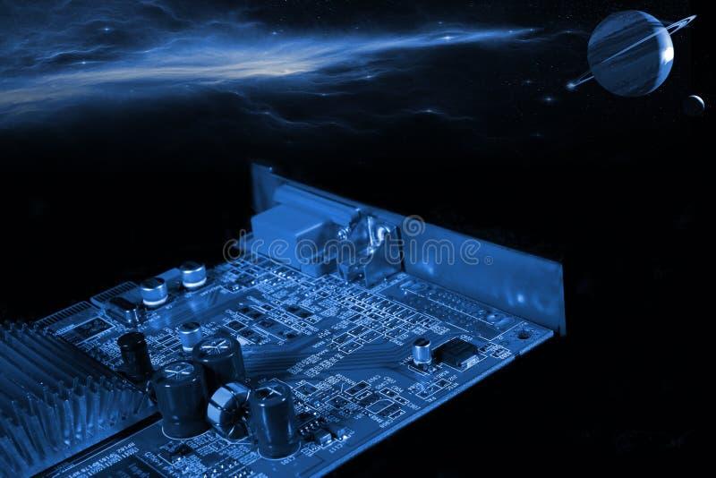 μέρος υπολογιστών στην τεχνολογία μακρινού διαστήματος στοκ εικόνες