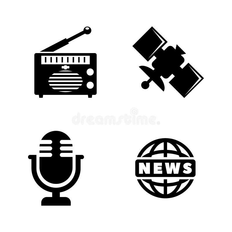 Μέσα, ειδήσεις Απλά σχετικά διανυσματικά εικονίδια διανυσματική απεικόνιση
