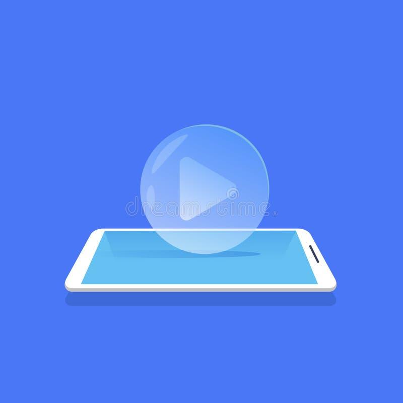 Μέσα εικονιδίων video που ρέουν το κινητό μπλε υπόβαθρο εφαρμογής οριζόντια διανυσματική απεικόνιση