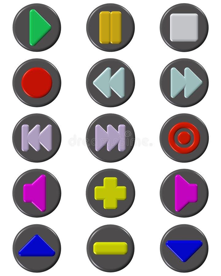 μέσα κουμπιών που τίθενται διανυσματική απεικόνιση