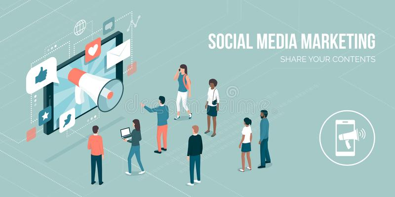 μέσα μάρκετινγκ κοινωνικά ελεύθερη απεικόνιση δικαιώματος