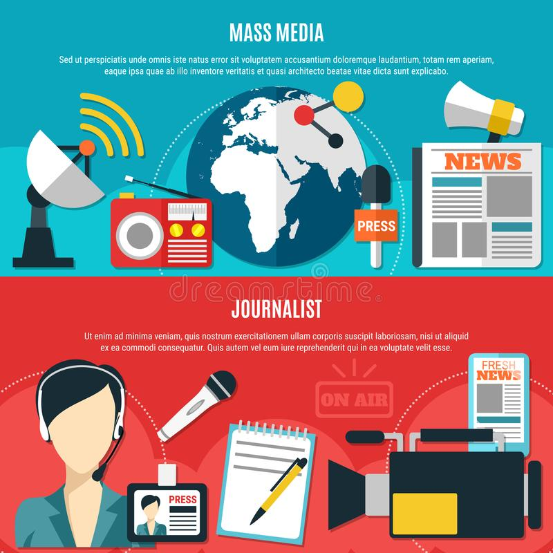 Μέσα Μαζικής Επικοινωνίας και οριζόντια εμβλήματα δημοσιογράφων ελεύθερη απεικόνιση δικαιώματος