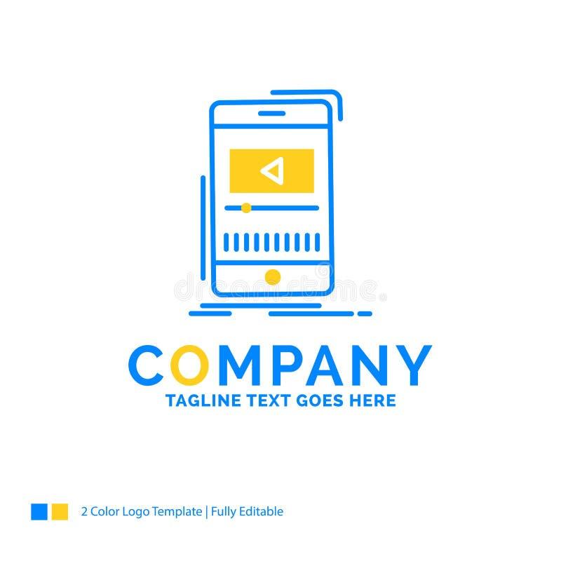 μέσα, μουσική, φορέας, τηλεοπτικό, κινητό μπλε κίτρινο επιχειρησιακό λογότυπο te διανυσματική απεικόνιση