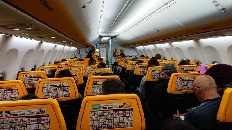 Μέσα Σε Ένα Εμπορικό Jet Liner Boing 737 στοκ φωτογραφία