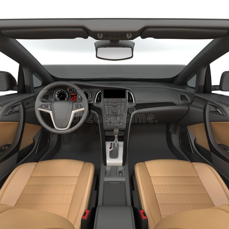 Μέσα στο ανοικτό αυτοκίνητο - εσωτερικό ενός μετατρέψιμου αυτοκινήτου σε ένα λευκό τρισδιάστατη απεικόνιση απεικόνιση αποθεμάτων