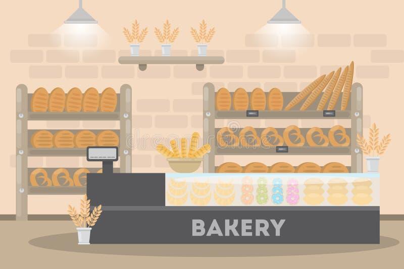 Μέσα στο αρτοποιείο διανυσματική απεικόνιση