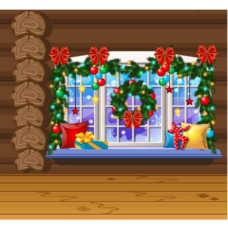 Μέσα στο παλαιό άνετο ξύλινο του χωριού σπίτι Εγχώριες επιπλώσεις Διακοσμήσεις Χριστουγέννων, μπιχλιμπίδια, κιβώτια δώρων Δείγμα  απεικόνιση αποθεμάτων