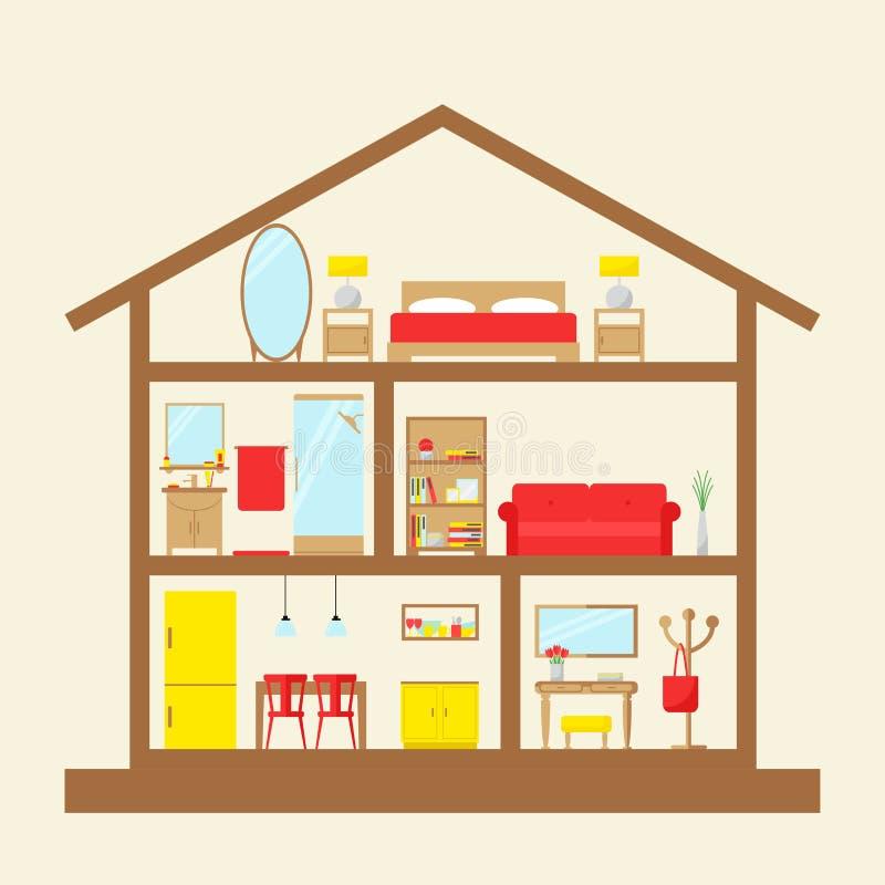 Μέσα στο σπίτι Σπίτι στην περικοπή ελεύθερη απεικόνιση δικαιώματος