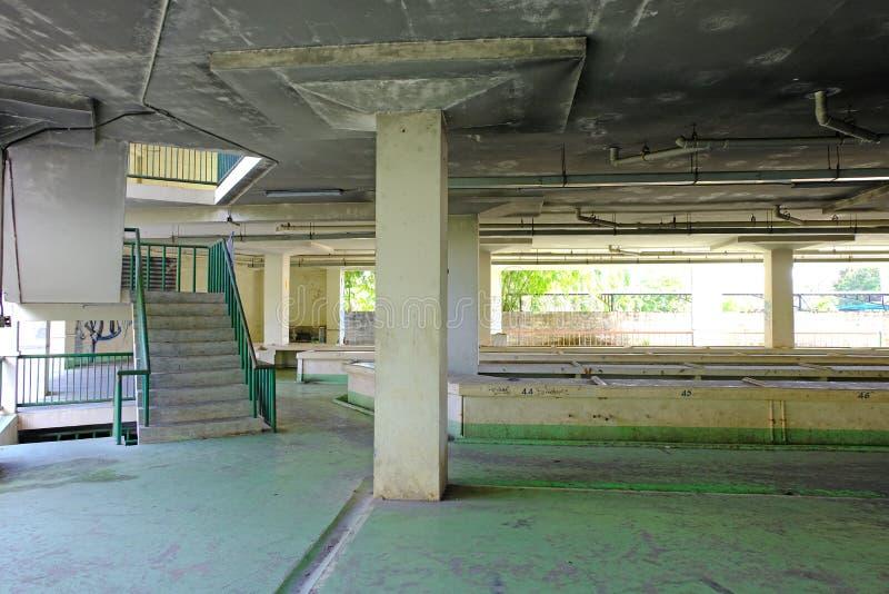 Μέσα της πόλης η δημόσια αγορά εγκαταλείπεται και ερείπωση cond στοκ εικόνες