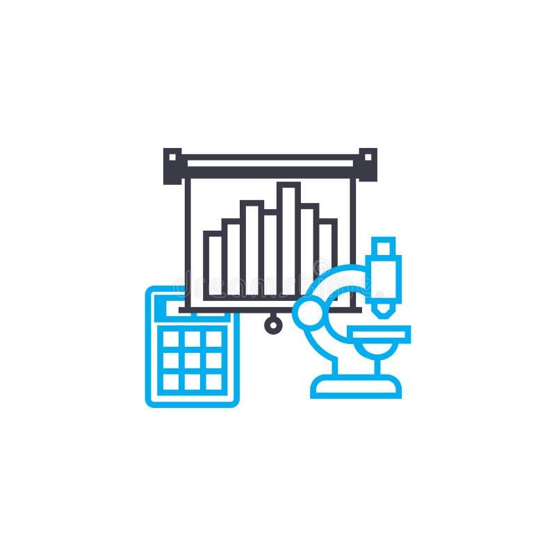 Μέσα του διανυσματικού λεπτού εικονιδίου κτυπήματος γραμμών analytics Μέσα της απεικόνισης περιλήψεων analytics, γραμμικό σημάδι, απεικόνιση αποθεμάτων