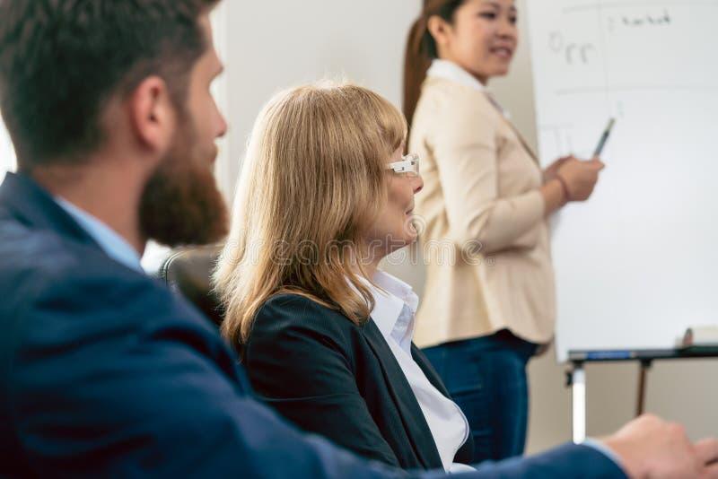 Μέσης ηλικίας επιχειρησιακή γυναίκα που παρουσιάζει την άποψή της κατά τη διάρκεια μιας συνεδρίασης στοκ εικόνα με δικαίωμα ελεύθερης χρήσης