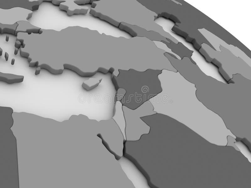 Μέση Ανατολή στον γκρίζο τρισδιάστατο χάρτη διανυσματική απεικόνιση