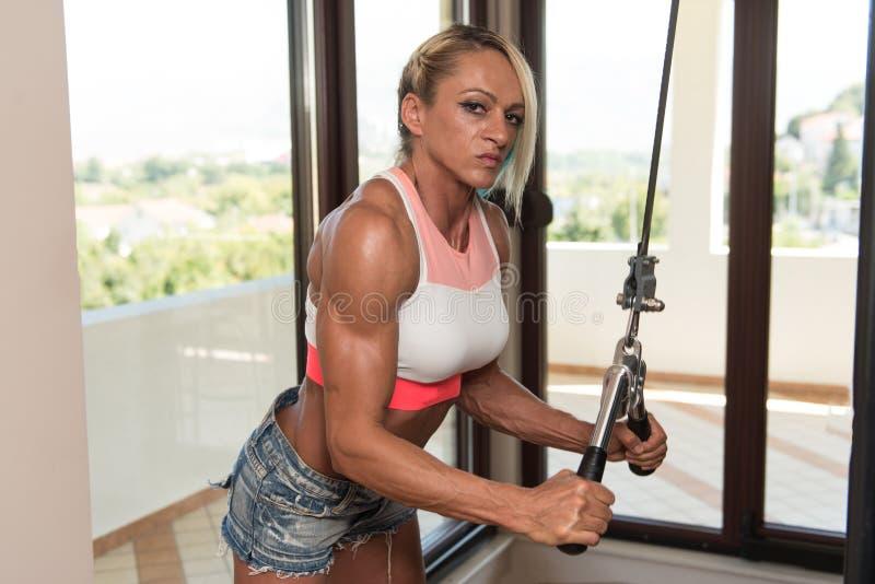 Μέση ηλικίας γυναίκα που κάνει την άσκηση για Triceps στοκ φωτογραφίες