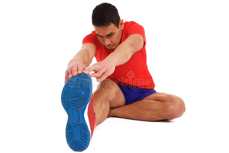 Μέσο ηλικίας άτομο που κάνει το τέντωμα workout στοκ φωτογραφίες με δικαίωμα ελεύθερης χρήσης