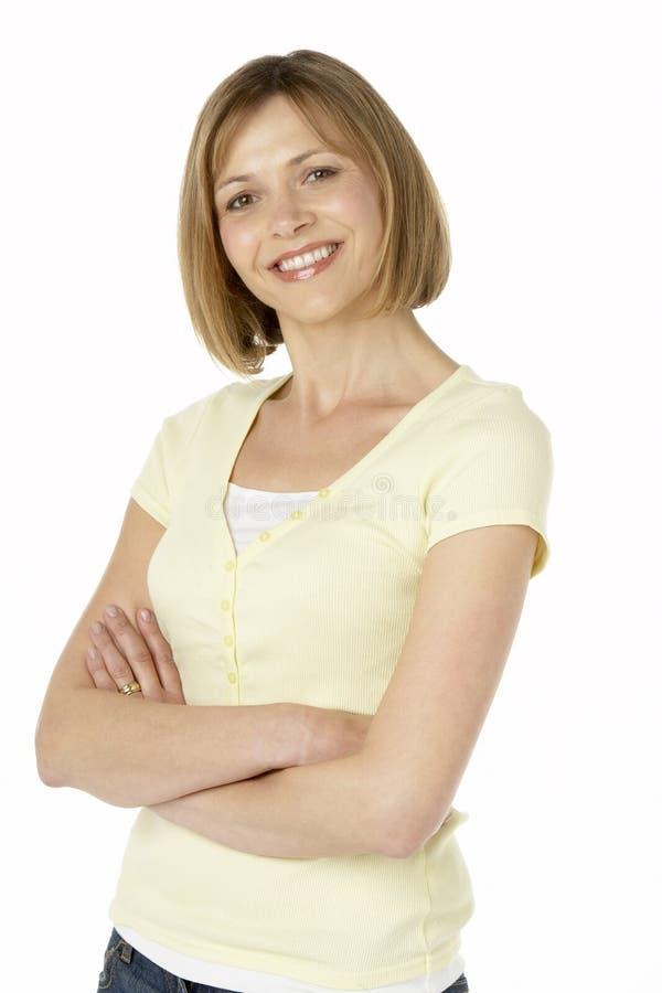 Μέσο ηλικίας χαμόγελο γυναικών στοκ φωτογραφία