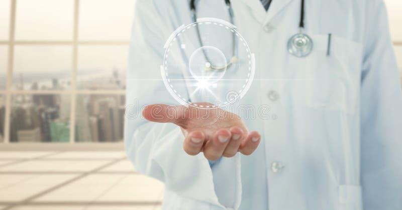 Μέσο τμήμα γιατρών με την άσπρη διεπαφή και φλόγα σε διαθεσιμότητα ενάντια στο μουτζουρωμένο παράθυρο απεικόνιση αποθεμάτων