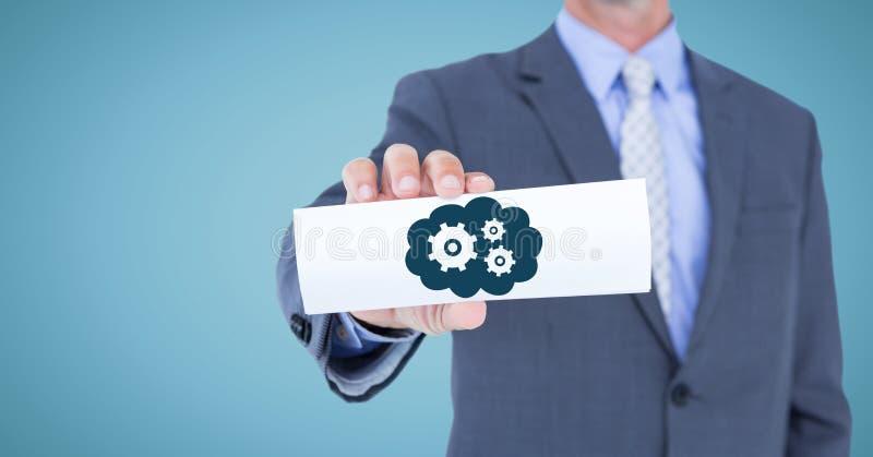 Μέσο τμήμα επιχειρησιακών ατόμων με την κάρτα που παρουσιάζει μπλε σύννεφο και εργαλείο γραφικό στο μπλε κλίμα στοκ εικόνες με δικαίωμα ελεύθερης χρήσης