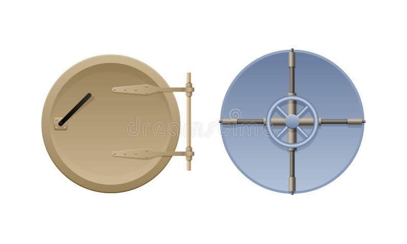 Μέταλλο γύρω από την ωοειδή πόρτα, με μια κυκλική κλειδαριά ροδών απεικόνιση αποθεμάτων