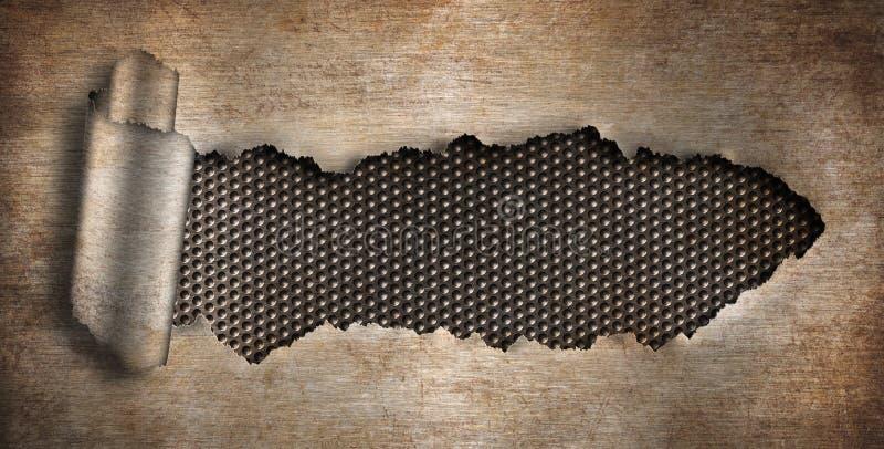 μέταλλο τρυπών ανασκόπησης grunge που σχίζεται σκουριασμένο διανυσματική απεικόνιση