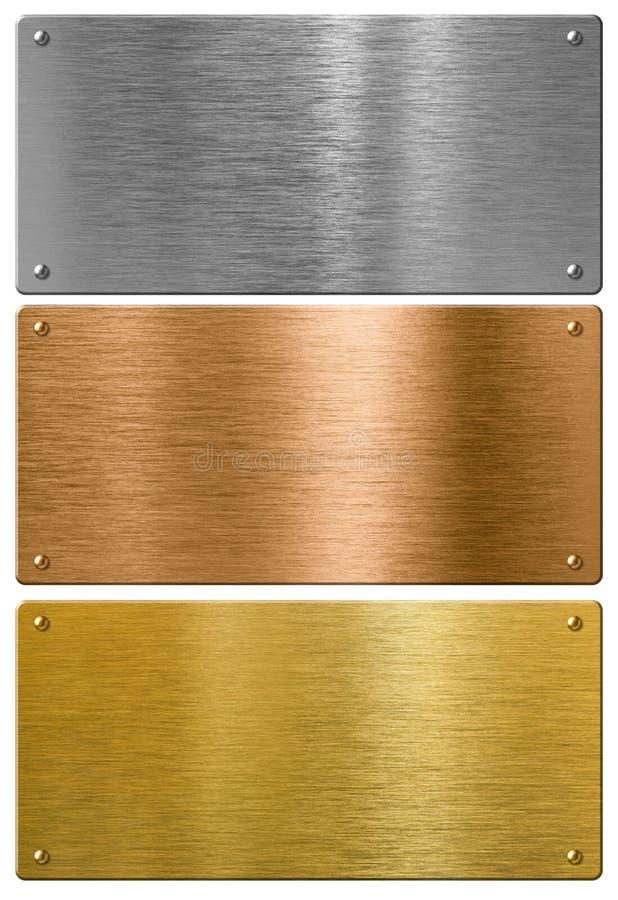 Μέταλλο ασημιών, χρυσού και χαλκού υψηλό - ποιοτικά πιάτα στοκ εικόνα