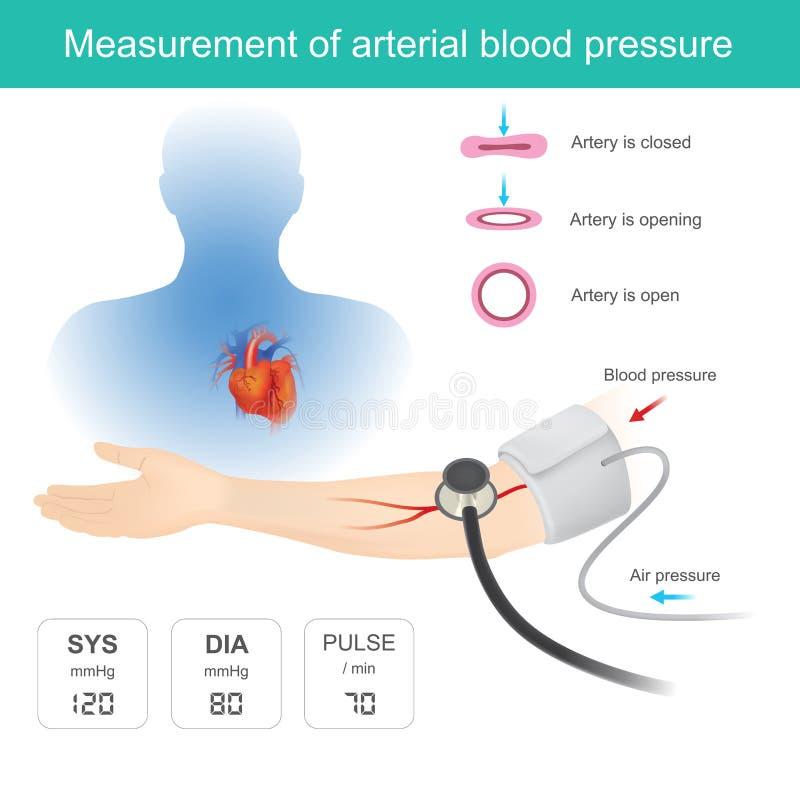 Μέτρηση της αρτηριακής πίεσης του αίματος διανυσματική απεικόνιση